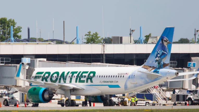 Frontier Airlines first ever flight to Portland International Airport.