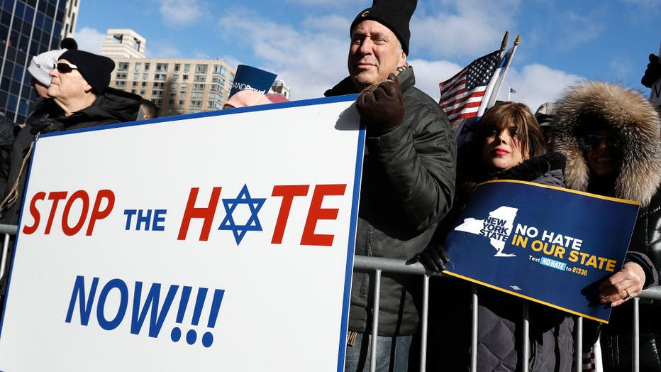 Representatives from various Jewish organizations as well as marchers from around the country joined the New Yorkers to call for an end to religious bigotry. hold placards during a No hate no fear solidarity march. As anti-Semitic incidents have increased in New York City as well as the United States, demonstrators held no hate no fear solidarity march. Representatives from various Jewish organizations as well as marchers from around the country joined the New Yorkers to call for an end to religious bigotry.