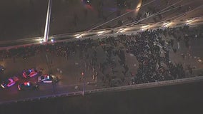 674 protesters detained on West Dallas bridge Monday night before being released