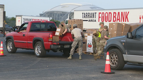 Tarrant Area Food Bank distributing food at Globe Life Field
