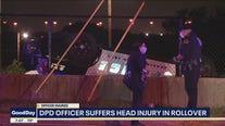 Dallas officer hurt in rollover crash