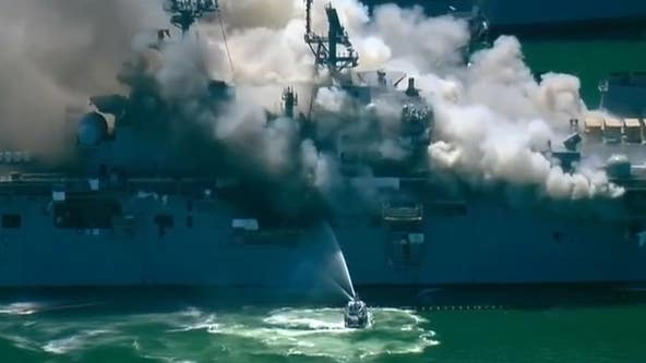 18 people injured in fire aboard ship at Naval Base San Diego