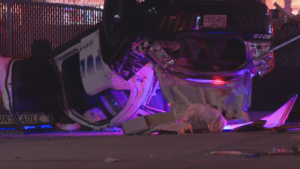 Dallas police officer hurt in rollover crash