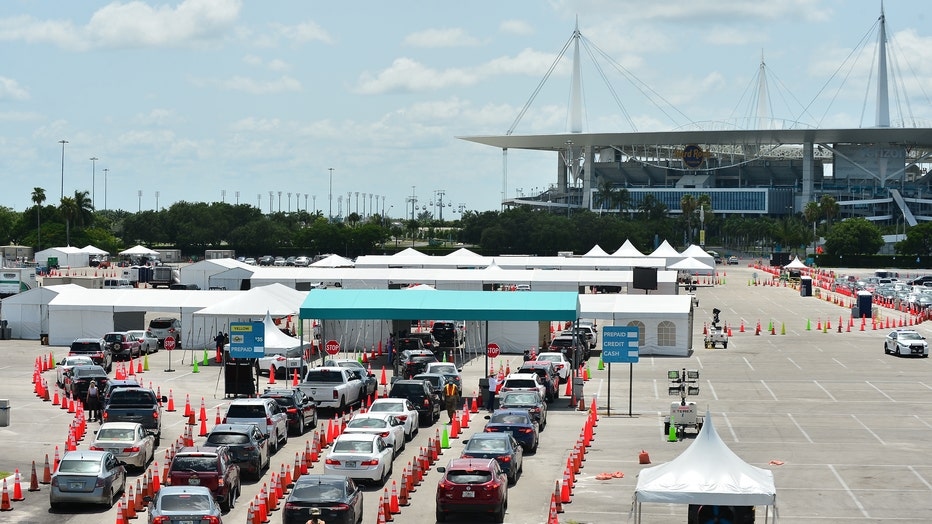 As Coronavirus Cases Continue To Spike In Florida, Miami's Hardrock Stadium Serves As Drive In Testing Site