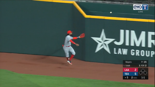 Rangers sweep the Angels as 4-base error on ball over the fence helps them get 7-3 win