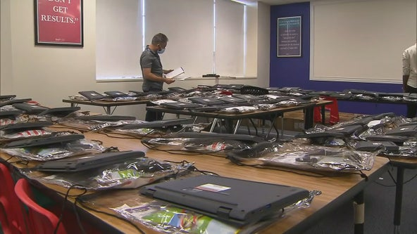 Dallas ISD assembles backpacks with laptops for remote learning