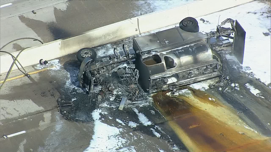 Tanker overturns and bursts into flames on 75 in Richardson