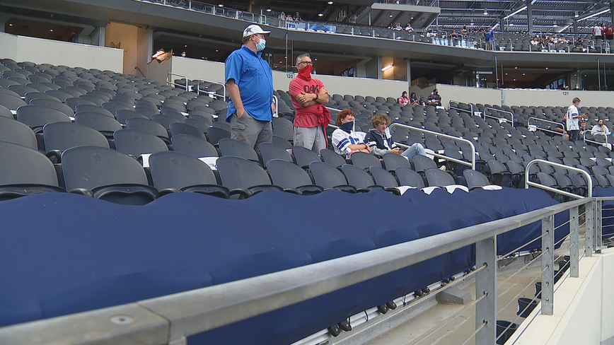 Tailgaters were outside, and more than 21,000 fans attended Cowboys home opener at AT&T Stadium Sunday