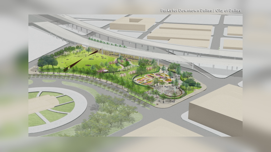 Construction begins on new park under the highway in Downtown Dallas