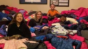 Rowlett family donates nearly 400 coats for kids