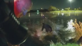 Body cam video shows Dallas officers' dramatic rescue after car goes into lake