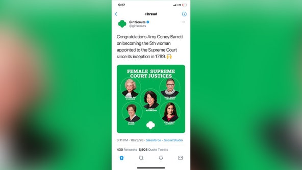 Girl Scouts deletes tweet congratulating Amy Coney Barrett on Supreme Court appointment