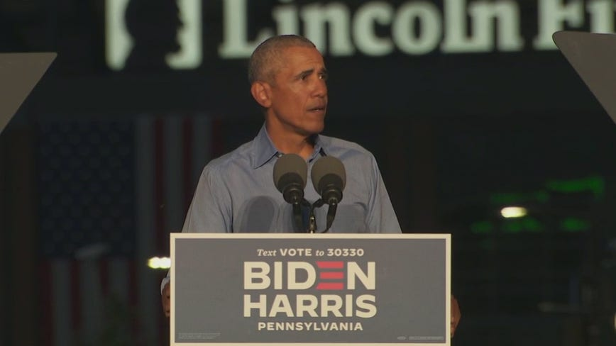 Barack Obama campaigns for Joe Biden in Philadelphia with drive-in rally