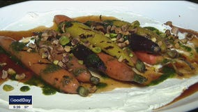 Grilled Carrots with Hazelnuts & Basil Oil