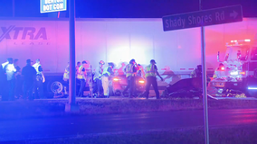 Portion of I-35 closed in Denton early Sunday morning after car got stuck under 18-wheeler