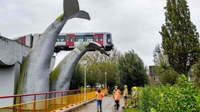 Whale tail sculpture catches runaway train
