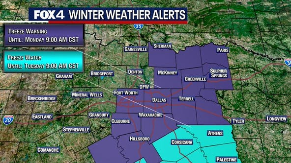 North Texas could get its 1st freeze of the season overnight Sunday, into Monday morning