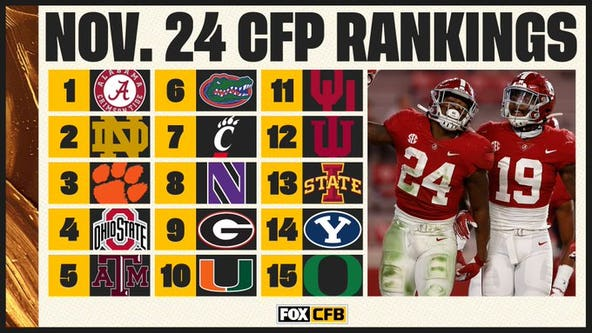 Playoff rankings: 'Bama, ND, Clemson, Ohio St; Texas A&M at 5