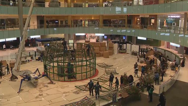 Crews assembling Galleria Dallas Christmas tree