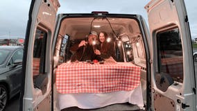 Couple creates private dining room in their van to support local restaurants