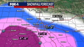 Snow still in the forecast for North Texas on Sunday, especially areas southwest of the Metroplex