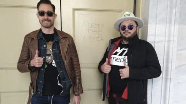 Burleson man photographed near 'Murder the Media' graffiti on Capitol door arrested