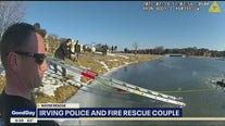 Irving police and fire rescue couple from icy pond