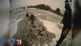 VIDEO: Southlake police rescue dog that had fallen into frozen pond