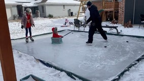 Texas family creates homemade ice skating rink amid record-breaking winter storm