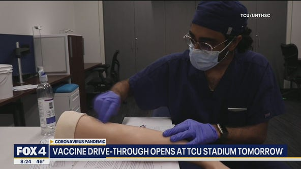 Students helping with new vaccine drive-thru site at TCU