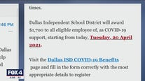 Dallas ISD staffers receive email scam involving COVID-19 relief bonuses