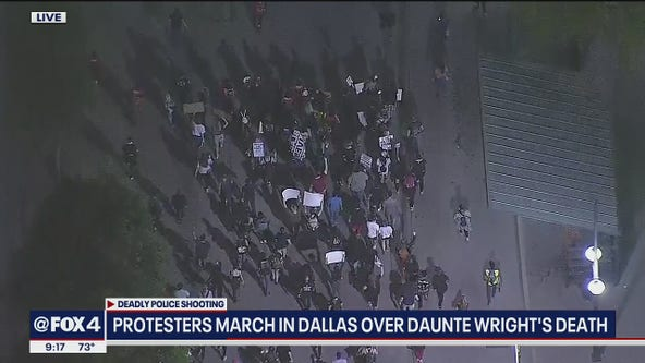 Protesters march in Dallas over Daunte Wright's death