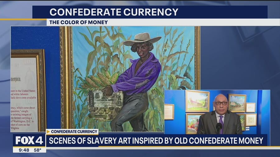 Artist turns Confederate money into works of art