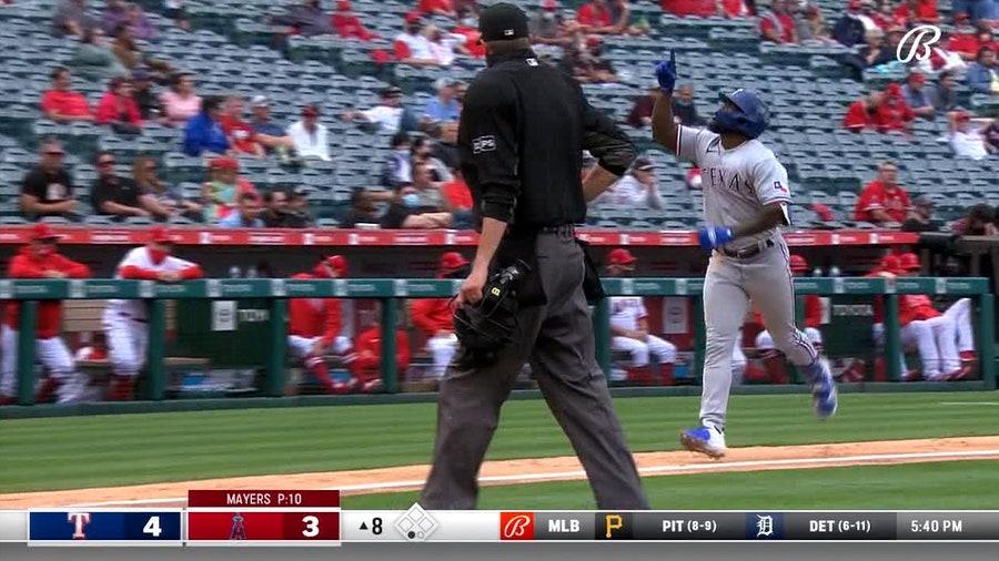 García's 3-run homer in 8th sends Rangers past Angels 7-4
