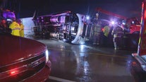 18-wheelers overturn during Monday's severe storms
