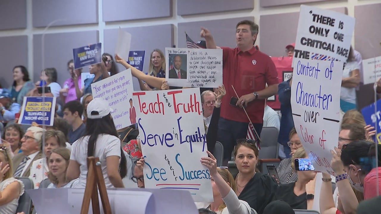 Group protests Critical Race Theory at Fort Worth ISD school board meeting