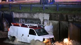 Man rescued after driving his van into Dallas drainage canal