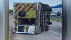 4 people hurt when MedStar ambulance flips in Fort Worth