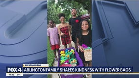 Arlington family shares kindness with flower bags