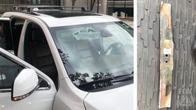 Airborne lawnmower blade narrowly misses Plano couple after going through car windshield