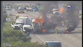 Fiery 18-wheeler crash in Mesquite shuts down I-635