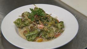 Summer Pesto Seared Shrimp, Thin Spaghetti, Tomatoes, Asparagus, Basil, and Lemon