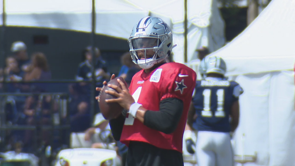 Dak Prescott leaves Cowboys' training camp practice with muscle strain in shoulder