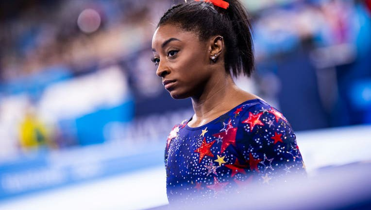 Simone Biles , compete on day two during the qualification of the women in gymnastics at the Olympic Games at Ariake Gymnastics Centre on July 25, 2021 in Tokyo, Japan. (Photo by Tom Weller/DeFodi Images via Getty Images)