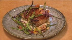 Glazed Pork Chop with Roasted Green Beans and Cheesy Grits