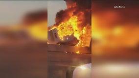 Fiery 18-wheeler crash shuts down I-635 in Mesquite