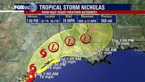 Tropical Storm Nicholas prompts 17-county Texas disaster declaration