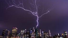 Backwards bolt: Watch as lightning heads skyward from NYC's World Trade Center