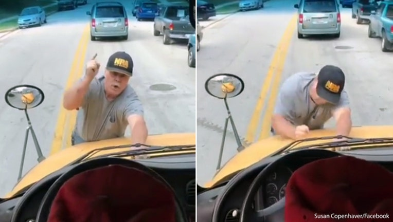 Angry Baltimore County man clings to school bus-401720