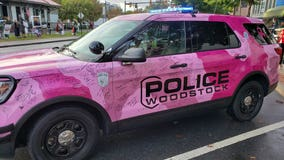 Woodstock police car goes pink for Breast Cancer Awareness Month